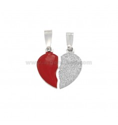 PENDANT MEDIUM HEART DIVIDED IN SILVER RHODIUM TIT 925 ‰ SMALTO AND GLITTER