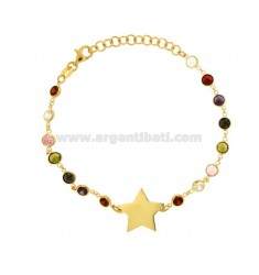 BRACELET WITH ZIRCONIA MULTICOLOR AND CENTRAL STAR IN SILVER GOLDEN TIT 925 ‰ CM 16-18
