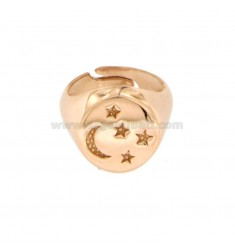 14 MM ROUND RING WITH MOON AND CHAIR STARS IN COPPER SILVER 925 ‰ SIZE FROM MIGNOLO