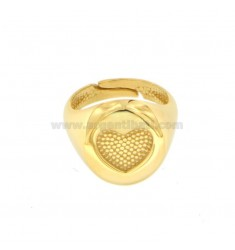 13 MM ROUND RING WITH CHORAM HEART IN SILVER GOLDEN 925 ‰ SIZE ADJUSTABLE FROM MIGNOLO
