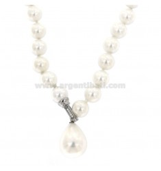 SALT NECKLACE WITH TWO PEARLS 10 MM WITH FINAL DROP WITH CLOSING IN RHODIUM AG TIT 925 AND ZIRCONIA