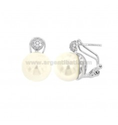EARRINGS WITH PEARL 12 MM SILVER RHODIUM TIT 925 ‰ AND ZIRCONIA