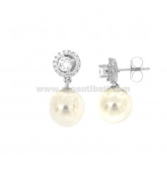EARRINGS PENDANT WITH PEARL 10 MM SILVER RHODIUM TIT 925 ‰ AND ZIRCONIA