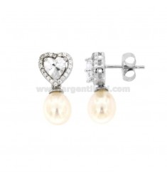 EARRINGS PENDANT WITH PEARL OVAL 8X10 MM SILVER RHODIUM TIT 925 ‰ AND ZIRCONIA