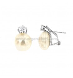 EARRINGS A LOBO CABOCHON 12 MM SILVER RHODIUM TIT 925 ‰ AND ZIRCONIA