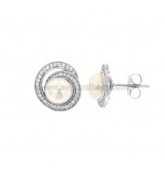 SPIRAL LOBO EARRINGS WITH PEARL CABOCHON 8 MM SILVER RHODIUM TIT 925 ‰ AND ZIRCONIA