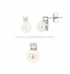 EARRINGS AND PENDANT WITH PEARL 8 MM AND 10 SILVER RHODIUM TIT 925 ‰ AND ZIRCONIA