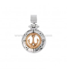 PENDANT ROUND STILL 17 MM MM SILVER RHODIUM AND COPPER TIT 925 ‰ WITH ZIRCON