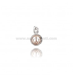 PENDANT ROUND STILL 14 MM SILVER RHODIUM AND COPPER TIT 925 ‰ WITH ZIRCON