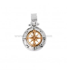 PENDANT ROUND ROSE OF THE WINDS 17 MM SILVER RHODIUM AND COPPER TIT 925 ‰