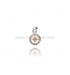 PENDANT ROUND ROSE OF THE WINDS 14 MM IN SILVER RHODIUM AND COPPER TIT 925 ‰