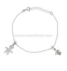 BRACELET WITH BALL faceted CHILD AND ANGEL IN SILVER RHODIUM TIT 925 ‰ AND ZIRCONIES CM 18