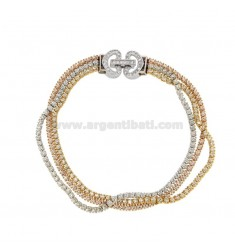 3-WIRE TENNIS BRACELET IN SILVER TRICOLOR TIT 925 ‰ AND WHITE ZIRCONIA CM 18
