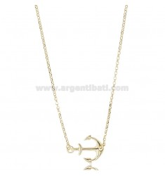 ROLO 'CHAIN WITH CENTRAL ANCHOR IN SILVER GOLDEN TIT 925 ‰ CM 42-45