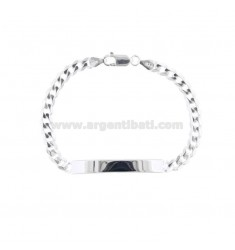 BRACELET KNITTED GRUMPET WITH 6x18 MM PLATE IN SILVER 925 ‰ 20 CM