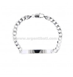 BRACELET KNITTED GRUMETTE WITH PLATE 69X19 MM SILVER 925 ‰ 21.5 CM
