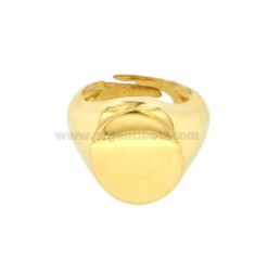 GOLDEN OVAL RING IN GOLDEN SILVER 925 ‰ ADJUSTABLE SIZE FROM 8