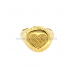 RING FROM MIGNOLO ROUND WITH CHORAM HEART IN SILVER GOLDEN 925 ‰ ADJUSTABLE SIZE FROM 8