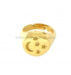 RING FROM MIGNOLO ROUND WITH MOON AND STARS CHESELLED IN SILVER GOLD 925 ‰ SIZE ADJUSTABLE FROM 8