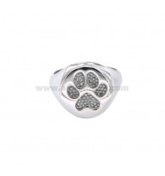 14 MM ROUND RING WITH IMPRESSION IN RHODIUM SILVER 925 ‰ MEASURED BY MIGNOLO