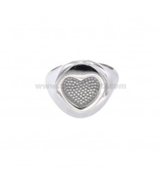 RING FROM MIGNOLO ROUND WITH HEART CHESELLATO IN SILVER RHODIUM 925 ‰ ADJUSTABLE SIZE FROM 8