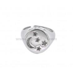 FINGER-Ring um den Mond und die Sterne linierten 925 ‰ Silber rhodiniert Größe verstellbar 8