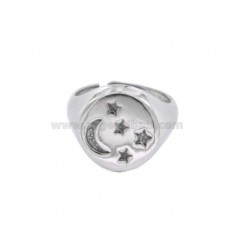 RING FROM MIGNOLO ROUND WITH MOON AND STARS CHAIR IN SILVER RHODIUM 925 ‰ ADJUSTABLE SIZE FROM 8