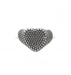 RING FROM MIGNOLO HEART WITH MICROSPHERES IN SILVER BRUNITO 925 ‰ ADJUSTABLE SIZE FROM 8