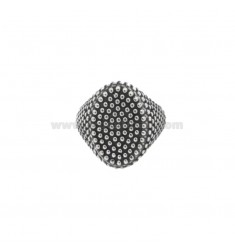 OVAL RING RING WITH MICROSPHERES IN SILVER BRUNITO 925 ‰ ADJUSTABLE SIZE FROM 8