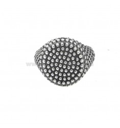 RING FROM MIGNOLO ROUND WITH MICROSPHERES IN SILVER BRUNITO 925 ‰ ADJUSTABLE SIZE FROM 8