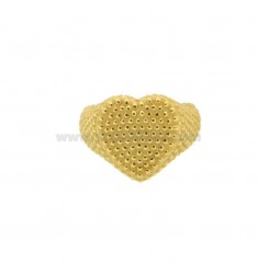 RING FROM MIGNOLO HEART WITH MICROSPHERES IN GOLDEN SILVER 925 ‰ ADJUSTABLE SIZE FROM 8