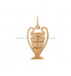 23x14 MM Tasse Anhänger mit Gravur sind die Nummer 1 Mohn in Silber Kupfer TIT 925