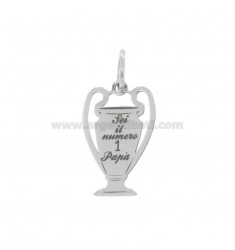 PENDANT 23X14 MM CUP WITH ENGRAVING ARE THE NUMBER 1 POPPY IN SILVER RHODIUM TIT 925