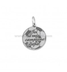 PENDANT PENDANT 17x17 MM WITH ENGRAVING YOU ARE MY POPPY CHAMPION IN SILVER RHODIUM TIT 925
