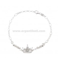 BRACELET WITH CROWN 17X17 MM WITH ENGRAVING YOU ARE MY PRINCE PAPA 'SILVER RHODIUM TIT 925 CM 18-21
