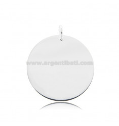 ROUND PENDANT DIAMETER 30 MM THICKNESS 1 MM SILVER TIT 925
