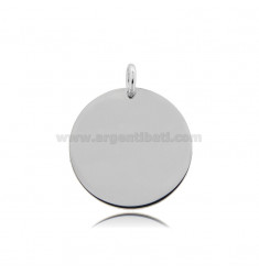 ROUND PENDANT DIAMETER 25 MM THICKNESS 1 MM SILVER RHODIUM-PLATED TIT 925