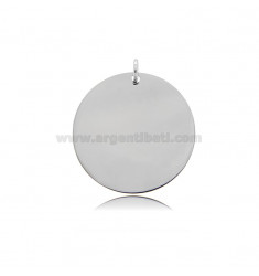 ROUND PENDANT DIAMETER 25 MM THICKNESS 0.5 MM IN RHODIUM-PLATED SILVER TIT 925