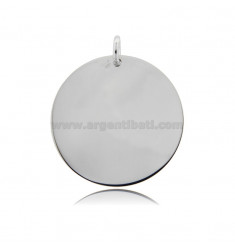 ROUND PENDANT DIAMETER 30 MM THICKNESS 1 MM SILVER RHODIUM-PLATED TIT 925