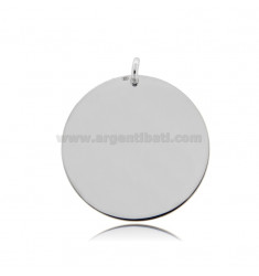 ROUND PENDANT DIAMETER 30 MM THICKNESS 0.5 MM IN RHODIUM-PLATED SILVER TIT 925