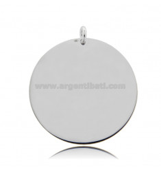 ROUND PENDANT DIAMETER 35 MM THICKNESS 0.5 MM IN RHODIUM-PLATED SILVER TIT 925