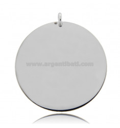 ROUND PENDANT DIAMETER 40 MM THICKNESS 0.5 MM IN RHODIUM-PLATED SILVER TIT 925