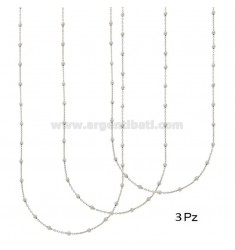 3 PCS LACE AND CHAIN 2.5 MM ALTERNATE IN SILVER RHODIUM TIT 925 ‰ 50 CM