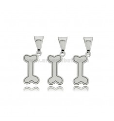 CIONDOLOPZ 3 KNOCHEN 16X7 MM Silber Rhodium TIT 925 ‰
