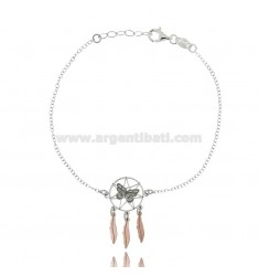 ROLO BRACELET 'WITH DREAM Catcher BUTTERFLY SILVER RHODIUM AND COPPER TIT 925 ‰ CM 18-20