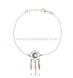 ROLO BRACELET 'WITH DREAM CATCHER MOON IN SILVER RHODIUM AND COPPER TIT 925 ‰ CM 18-20