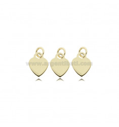 PENDANT PCS 3 HEART MM 8 THICKNESS MM 0,8 IN SILVER GOLDEN TIT 925