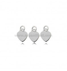 PENDANT PZ 3 HEART MM 8 THICKNESS 0.8 MM IN SILVER RHODIUM TIT 925
