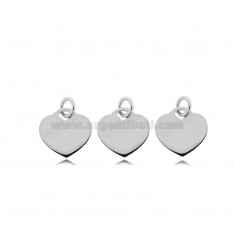 PENDANT HEART MM 12 MM THICKNESS 0.8 SILVER RHODIUM TITLE 925