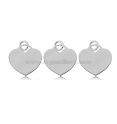 PENDANT HEART MM 15 THICKNESS 0.8 MM IN SILVER RHODIUM TITLE 925